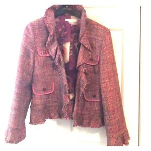 I C E Frayed Tweed Jacket Multicolor